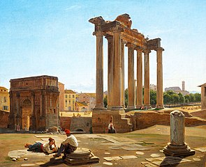 View of the Roman Forum with the Temple of Concordia and the Arch of Septimius Severus seen from the foot of the Capitoline Hill