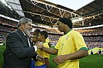 Brazilian President Lula with Ronaldinho at Wembley Stadium