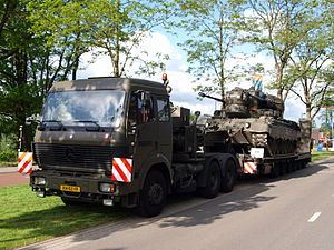 Royal Dutch Army Mercedes with trailer and Gepard.JPG