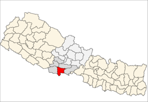 Rupandehi District i Lumbini Zone (grå) i Western Development Region (grå + lysegrå)