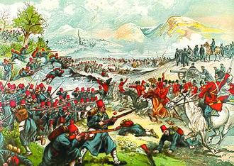 Battle of Sarikamish - Russian propaganda poster commemorating the battle.