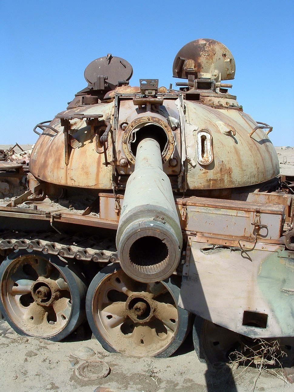 Rusting tank at the Highway of Death in Iraq