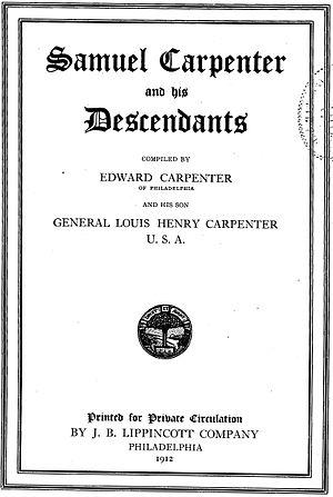 Samuel Carpenter - Title page of Samuel Carpenter and his Descendants