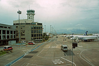 Santos Dumont Airport - Tarmac and control tower at Santos Dumont Airport