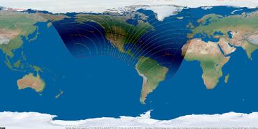 Weltkarte der Sonnenfinsternis vom 21. August 2017