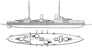SMS Von der Tann - Von der Tann as depicted in Brassey's Naval Annual in 1913; shaded areas represent armor protection.