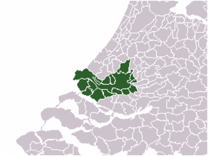 Rijnmond - Location of Rijnmond, with the municipality of Rotterdam in red and the other municipalities in green