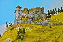 Sachsenburg Modell untere Burganlage von 1730 23012011 056