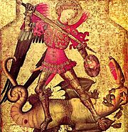 «Saint Michael and the Dragon» with Sword & Buckler, wearing brigandine with plate armour for hand and legs
