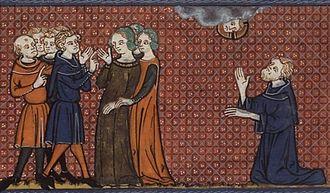Saint Nonnus - St Nonnus prays for St Pelagia amongst her courtesans, in a 14th-century manuscript