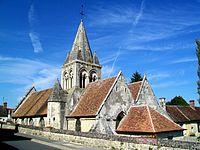 Saintines (60), église Saint-Denis, Saint Jean-Baptiste, rue Jean-Jaurès, depuis l'est.jpg