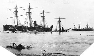 History of Samoa - Wrecked vessels at Apia (1889)