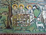 San vitale, ravenna, int., presbiterio, mosaici di sx 02 ospitalità di abramo e sacrificio di isacco 03.JPG