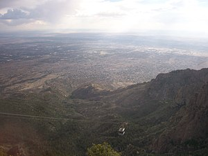 Sandia Peak Tramway - An overview of the tramway and a view of metropolitan Albuquerque from the upper station.