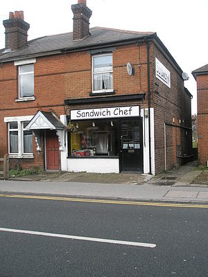 Comic Sans - A sandwich shop with a sign in Comic Sans