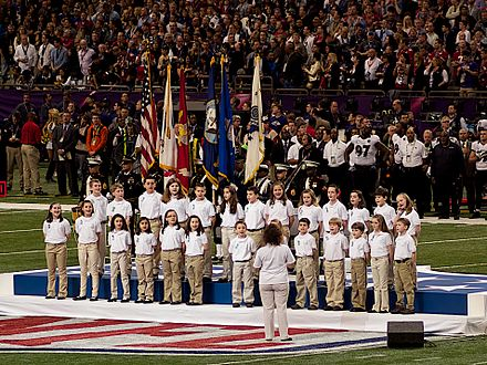 Sandy Hook Elementary School Choir performing before Super Bowl XLVII