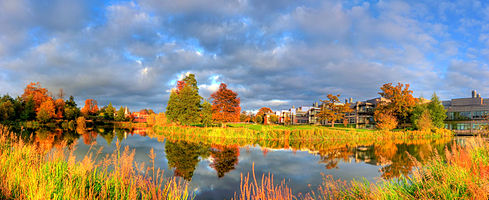 Sanger Institute and Hinxton Hall, Cambridge, UK. HDR panorama bringing out autumn colours.