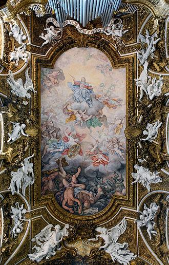 Santa Maria della Vittoria, Rome - Image: Santa Maria della Vittoria in Rome Ceiling