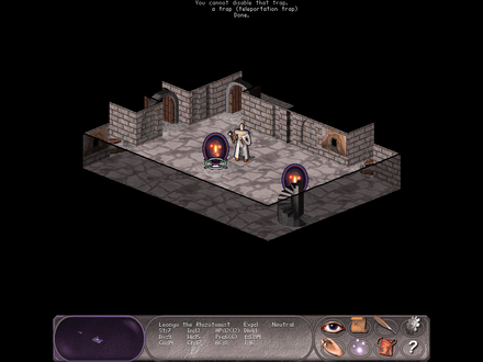 An adventurer finds a teleportation portal while exploring a dungeon in the role-playing video game Falcon's Eye. Screenshot-Falcons-Eye.png