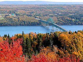 Seal Island Bridge - The Seal Island Bridge, viewed from the Bras d'Or look off on Kelly's Mountain.