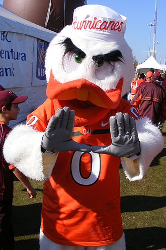 "University of Miami - University of Miami mascot Sebastian the Ibis makes the signature ""The U"" hand gesture."