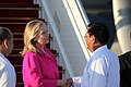 Secretary Clinton is greeted by Burmese Deputy Foreign Minister Dr. Myo Myint (6430410587).jpg