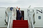 Secretary Kerry Waves Goodbye Before Boarding his Aircraft at Joint Base Andrews in Camp Springs, Maryland (32101551692).jpg