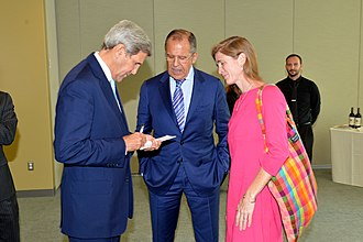 Samantha Power - Power with John Kerry and Russian Foreign Minister Sergey Lavrov, September 29, 2015