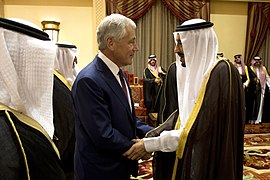 Secretary of Defense Chuck Hagel shakes hands with Crown Prince and Minister of Defense Salman bin Abdulaziz al Saud before a meeting in Riyadh, Saudi Arabia, on April 23, 2013 130423-D-BW835-939.jpg