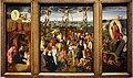 Seguace di hans memling, trittico con la natività, la crocifissione e la resurrezione di cristo, 1520 ca.jpg