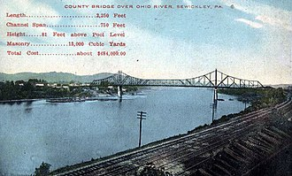 Sewickley Bridge - Postcard photo of the original Sewickley Bridge in 1910.