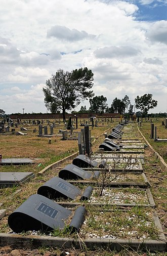 Sharpeville massacre - The row of graves of the 69 people killed by police at the Sharpeville Police Station on 21 March 1960.