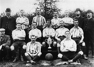 1896 FA Cup Final - The Wednesday players posing with the trophy