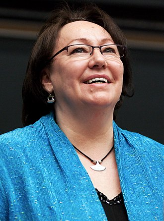 Indigenous Canadian personalities - Sheila Watt-Cloutier lecturing at York University's 50-50 Symposium.