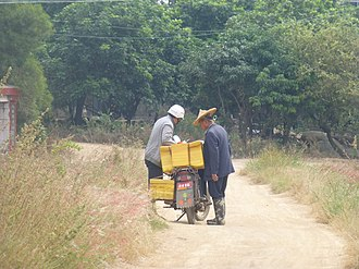Food delivery - A farmer in his field buys his breakfast from a motorcycle-based traveling vendor. Zhangpu County, Fujian