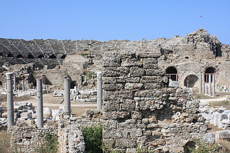 Ancient theater in Side, Turkey, Antalya Province