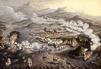 The eleven-month siege of a Russian naval base at Sevastopol during the Crimean War Siege of Sevastopol by George Baxter.jpg