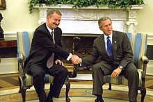 Siim Kallas et George W. Bush en septembre 2002.