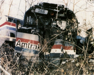 Wrecked Amtrak 255 in the 1996 Maryland train collision. Silver Spring collision amtrak locomotive.png