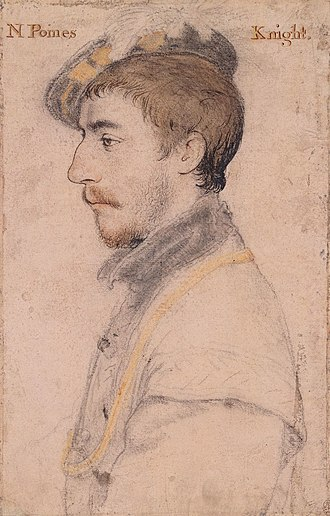 Maurice Denys - Sir Nicholas Poyntz (died 1557) of Iron Acton, husband of Jane Berkeley, first cousin of Maurice Denys. Drawing by Hans Holbein the Younger, Royal Collection, RL 12234