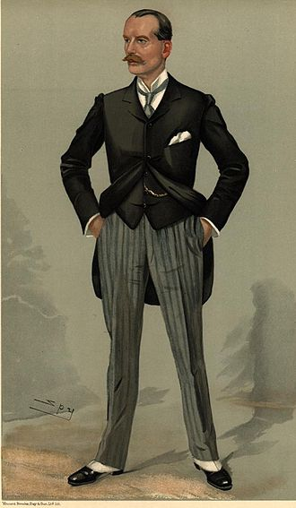 """Frederick Smith, 2nd Viscount Hambleden - """"head of the greatest publishing house in Christendom"""" Smith as caricatured by Spy (Leslie Ward) in Vanity Fair, December 1904"""