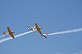 Socata TB-30 Epsilon leads Beech T-34B Mentors Cross 01 TICO 13March2010 (14576490436).jpg