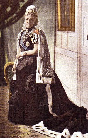 Sophia of Nassau - Queen Sofia in formal court dress, ca 1900.