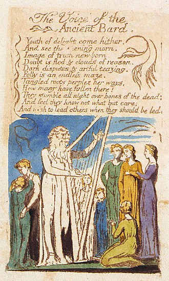 The Voice of the Ancient Bard - Image: Songs of Innocence, copy B, 1789, object 13, The Voice of the Ancient Bard (Library of Congress)