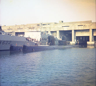 French Narval-class submarine - Dauphin (foreground) and Espadon (background) in La Rochelle, July 1969