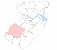 Location of South Brunswick within Middlesex County.