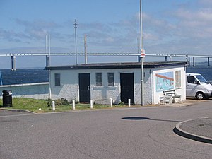 South Kessock - Former ferry terminal, with the Kessock Bridge behind