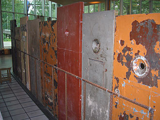 Estonian Soviet Socialist Republic - Soviet prison doors on display in the Museum of Occupations, Tallinn, Estonia.