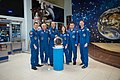 Soyuz MS-12 crew and backup crew at the Baikonur Cosmodrome Museum.jpg