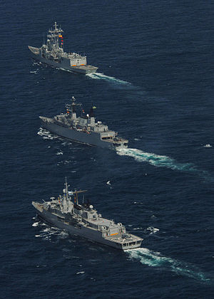 Spanish frigate SPS Santa Maria (F 81), BNS Rademaker (F 49), and the ARA Almirante Brown (D 10).jpg
